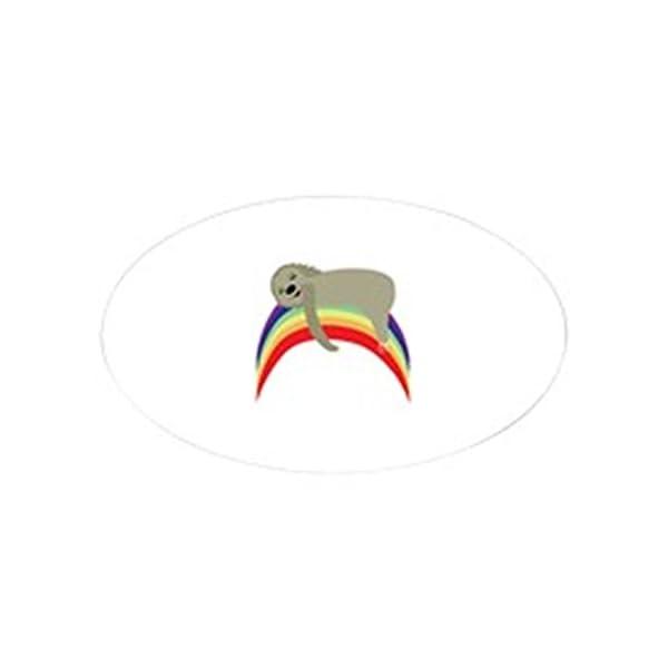 Cafepress Sloth On Rainbow Sticker Oval Bumper Sticker, Euro Oval Car Decal -
