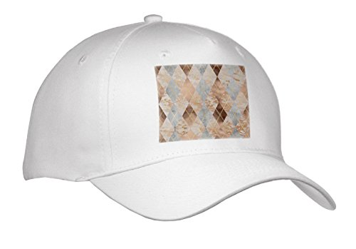 3dRose Uta Naumann Faux Glitter Pattern - Image Of Copper Marble Polygonal Argyle Pattern - Caps - Adult Baseball Cap (Argyle Embroidered Cap)