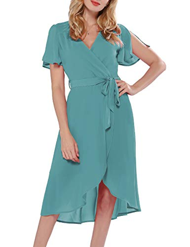 Azalosie Women Wrap Midi Dress V Neck Short Sleeve Tie Waist High Low Flowy Slit Dress Summer Beach Wedding Maxi Dress