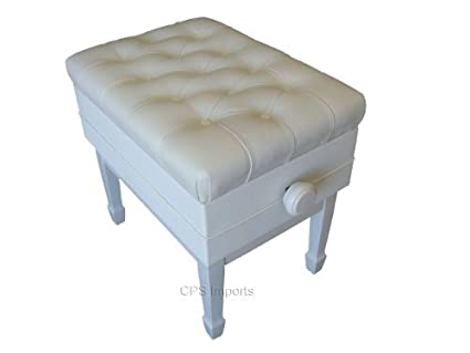 Adjustable Genuine Leather Artist Concert Piano Bench In White