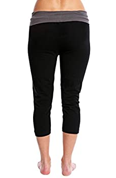 Nouveau Women's Workout Active Capri Yoga Pant With Contrasting Color Waistband Casual Loungewear - Black W. Charcoal, Xx-large 2