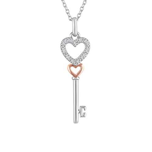 (Diamond Accent Sterling Silver/Rose Gold over Sterling Silver Key Pendant, 16