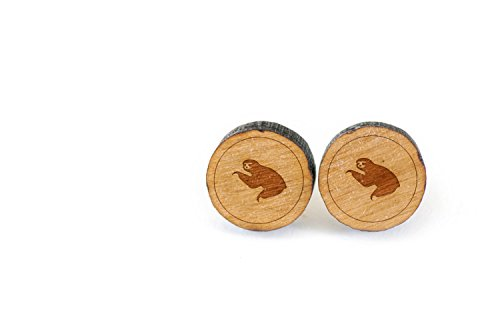 Wooden Accessories Company Wooden Stud Earrings With Sloth Laser Engraved Design - Premium American Cherry Wood Hiker… -
