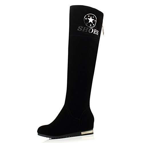 DecoStain Women's Gilding Letter Zipper Knee High Boots Black gbYLBsf0