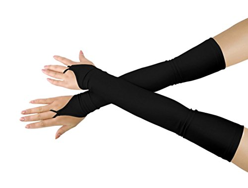 Shinningstar Girls' Boys' Adults' Stretchy Lycra Fingerless Over Elbow Cosplay Catsuit Opera Long Gloves (Black) ()