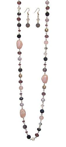 "Vintage Glass Lavender (Wildflower Long Single Strand Pink Purple Gray & Black Glass Bead & Goldtone Layerable Necklace w/Earrings 36"")"