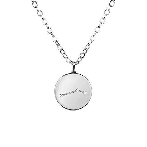 Disc Silver Love (Silver Zodiac Constellation Disc Necklace Cubic Zirconia Crystal Necklace Birthday Necklace Gift Graduation Gift for Her (ARIES) - ZCCN)