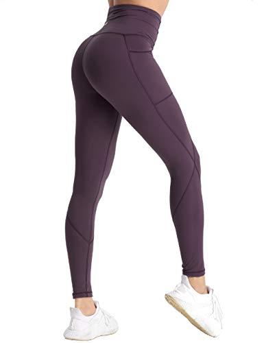 coastal rose Women's Yoga Pants 7/8 High Waist Workout Leggings Tummy Control Sports Tights BlackBerry Cordial S ()