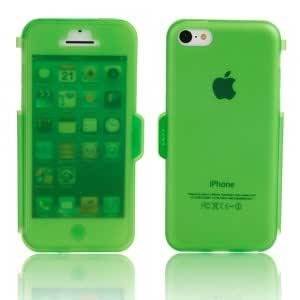 Transparent Frosted TPU Protective Case w/ Cover for iPhone 5C Dark Green