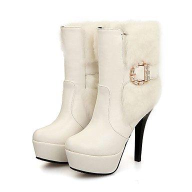 Heart&M Damen Schuhe PU Herbst Winter Komfort Neuheit Modische Stiefel Stiefeletten Stiefel Stöckelabsatz Spitze Zehe Mittelhohe Stiefel Feder white