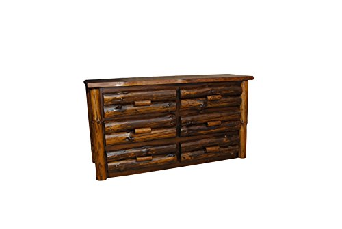 Rustic Pine Half Log 6-Drawer Dresser - Amish Made in USA (Clear Varnish) - Drawer Half Log