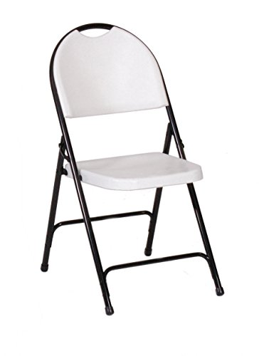 Correll RC350-23, R Series Folding Chairs, Gray Granite (Pack of 4), Heavy Duty Injection Molded Plastic,Full Steel Frame, Nesting for Storage ()