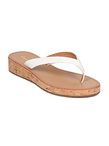 Qupid Women Patent Cork Thong Sandal - Casual, Pool, Beach - Low Wedge Sandal - GF65 by White (Size: 8.0) - Low Heel Patent Thong Sandal