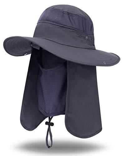 iColor Men's Sun Cap Fishing Hats UV Protection Sun Hats UPF 50+Neck Face Flap Cover Windproof Wide Brim Hat For Men&Women Summer Outdoor Work Gardener Travel (DarkGray)]()