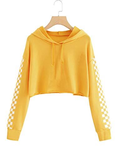 Imily Bela Kids Crop Tops Girls Hoodies Cute Plaid Long Sleeve Fashion Sweatshirts Yellow