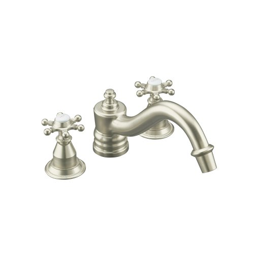 KOHLER K-T125-3D-BN Antique Deck-Mount High-Flow Bath Faucet Trim with Six-Prong Handles, Requires Ceramic Handle Insets and Skirts, Valve Not Included, Vibrant Brushed Nickel