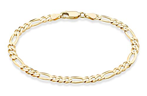 (MiaBella Solid 18K Gold Over Sterling Silver Italian 5mm Diamond-Cut Figaro Chain Bracelet for Women Men, 6.5