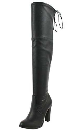 - Delicious Women's Faux Leather Back Tie Over The Knee Chunky High Heel Dress Boot, Black, 7 M US