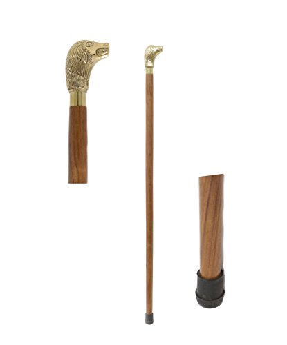 - Handcrafted Canes and Walking Sticks-36 Inch Dog Head Brass Handle Walking Stick - Inspired by Irish Walking Stick Designs
