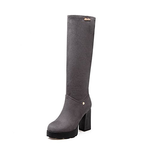 Boots Solid Allhqfashion High Women's Imitated Zipper top High Gray Heels Suede AU6xw16