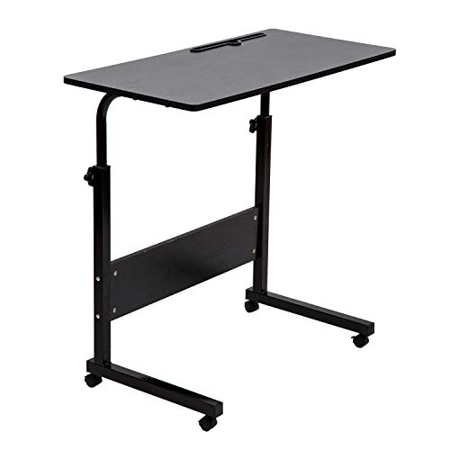 BarleyHome Tray Table, Adjustable Sofa Side Bed Table Portable Desk with Wheels Overbed Table Laptop Cart, Black, 31.5 x 15.7 in Desktop (Portable Desktop Computer Table)