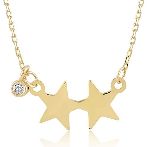 Gelin 14k Real Gold 0,01 ct Diamond Two Star Chain Necklace for Women - Fine Jewelry Birthday Gift for Her, 18 inch
