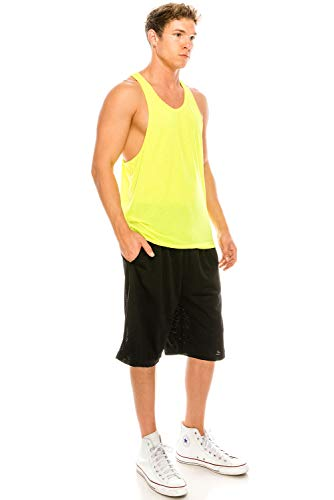 JC DISTRO Unisex Workout Deep Cut Racer Back Muscle Yellow Tank Top Large