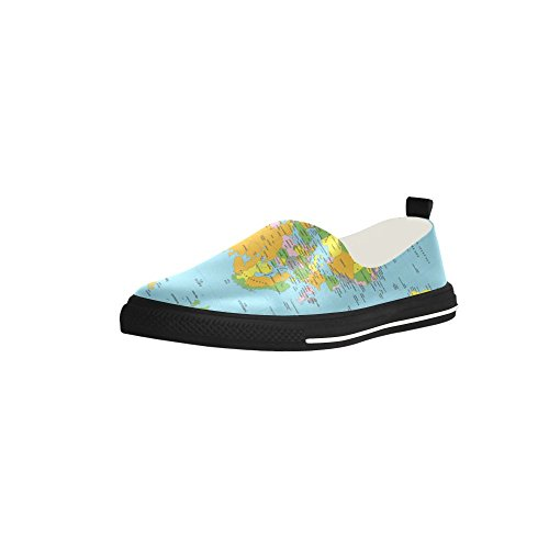 Loafer World Map Shoes Slip-on Microfiber Men's Shoes B01NB9P11X Shoes Map 3a84d2