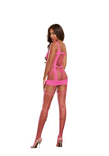 (Dreamgirl Women's Capri Garter Dress with Fence Net Stockings, Neon Pink, One Size)
