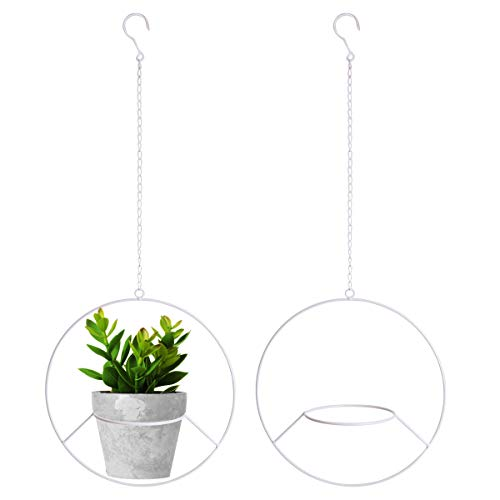 Vencer 2Pack Metal Flower Pot Holder Plant Hanger Modern Round Hanging Planter,White,VF-0123W