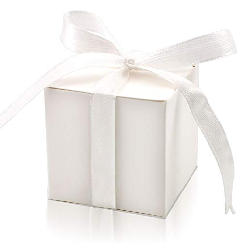 KPOSIYA 100 Pack Favor Boxes 2x2x2 inch Candy Boxes White Gift Boxes with Ribbons for Wedding Baby Shower Decorations Birthday Party Supplies (White, -