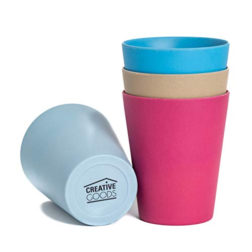 Creative Goods Bamboo Kids Cups (10 oz) - No BPA or Phthalates - Eco Friendly Toddler Cups Without Lids - Non Toxic Non Plastic - Set of 4 Drinking Cups for Kids - Ideal for Baby Showers and Birthdays