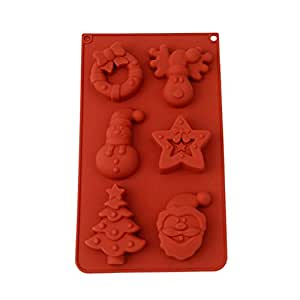 LALANG 6 Even Creative Christmas Combination DIY Cake Mould Soap Jelly Baking Tools(Brown)