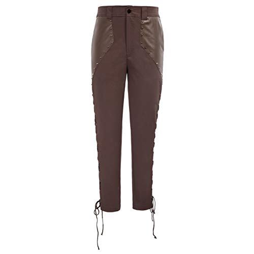 SCARLET DARKNESS Men Brown Steampunk Pants Victorian Gothic Bandage Trousers Brown L