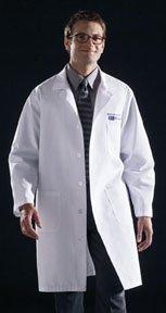 Medium Medline 83044RCWM Unisex Knee Length Lab Coats Light Blue