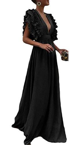 Qianqian-au Womens Soir Mancherons Col V Profond Partie Maxi Longue Robe Noire