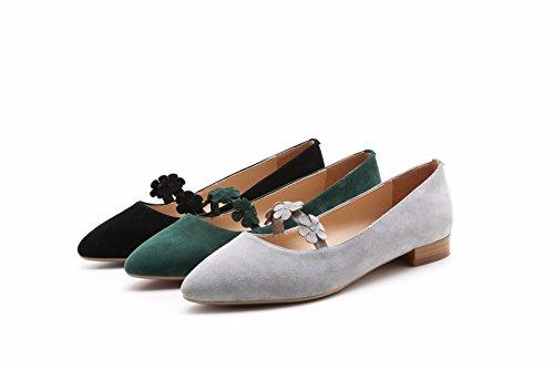 hexiajia - Zapatos Planos con Cordones mujer Verde