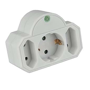 uniTEC 44512 - Filtro de protección contra sobrevoltaje (1 enchufe schuko, 2 enchufes europeos)
