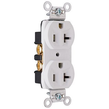 (Pass & Seymour (10 Pack) CRB5362W 20 Amp 125 Volt Construction Spec Grade Receptacle, Back and Side Wire, White)