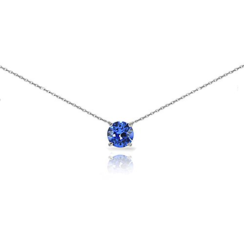 (Sterling Silver Blue Solitaire Choker Necklace set with Swarovski Crystal)