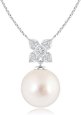 Collar largo con colgante de perla cultivada en el Mar del Sur para mujeres con diamantes