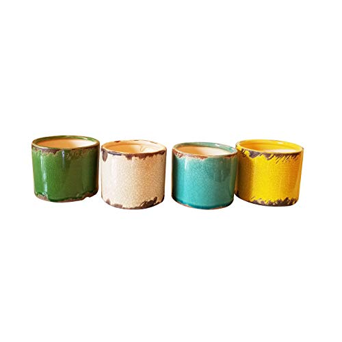Old World Ceramic - Newly Designed Set of 4 Old World Multicolored Round Garden pots