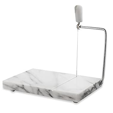 White Marble Cheese Board Slicer with 2 Replacement Wires - 5  x 8