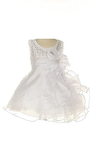 Cinderella Couture Baby Girls Cascading Organza Dress White Sm 6/9M (B1101) - Couture Formal Dresses