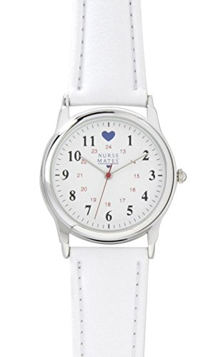 Nurse Mates Military Dial With Blue Heart Watch Chrome Military W/Heart