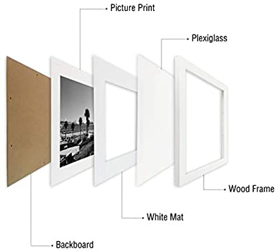 Golden State Art Set of 2, 11x14 Picture Frame - Matted for 8x10 Photos - Wood Framing - Wall Mounting - Landscape/Portrait - Great for Family/Group Photos