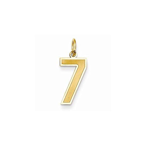 14k Yellow Gold Medium Satin Number 7 Charm