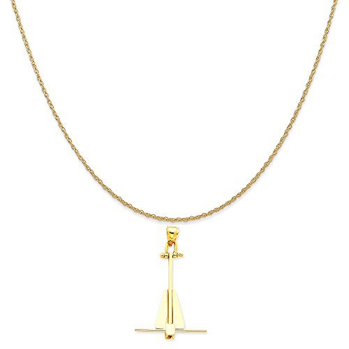 (14k Yellow Gold Moveable Danforth Anchor Pendant on 14K Yellow Gold Rope Chain Necklace, 20