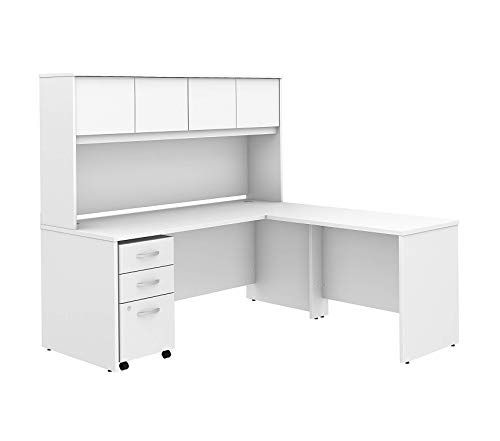 Wood & Style Furniture 72W x 30D L Shaped Desk with Hutch Mobile File Cabinet and 42W Return in White Premium Office Home Durable Strong