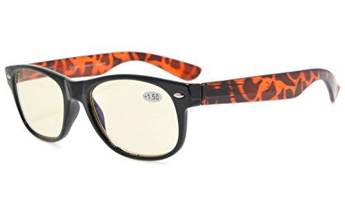 Eyekepper Spring Hinges UV Protection,Anti Glare,Anti Blue Rays,Scratch Resistant Lens Computer Eyeglasses (Yellow Tinted Lenses, Tortoiseshell Arm) ()